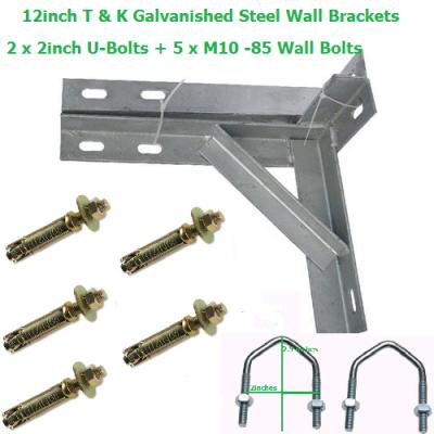 12 inch T + K Galvanished Steel Wall Brackets + 2 U-Bolts + 5 Wall Bolts