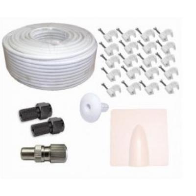 50m White RG6 Aerial + Satellite Cable Kit