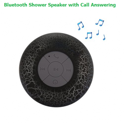 Bluetooth Shower Speaker - BLACK - Hands-free Calling