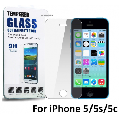 Premium Tempered Glass Screen Protector for Apple iPhone 5, 5S, 5C