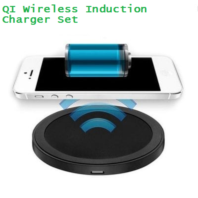 Qi Wireless Charge Pad for Mobile Phones - Wireless Induction Charger Set 1000mA