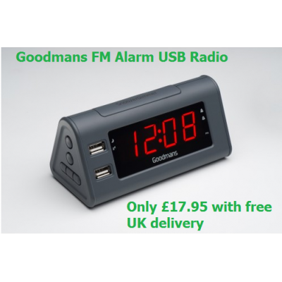 Goodmans Alarm Clock with FM Radio and 2 x USB Charging Ports