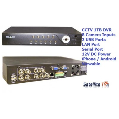 iPhone / Android Ready. 8CH DVR with 1TB Internal HDD