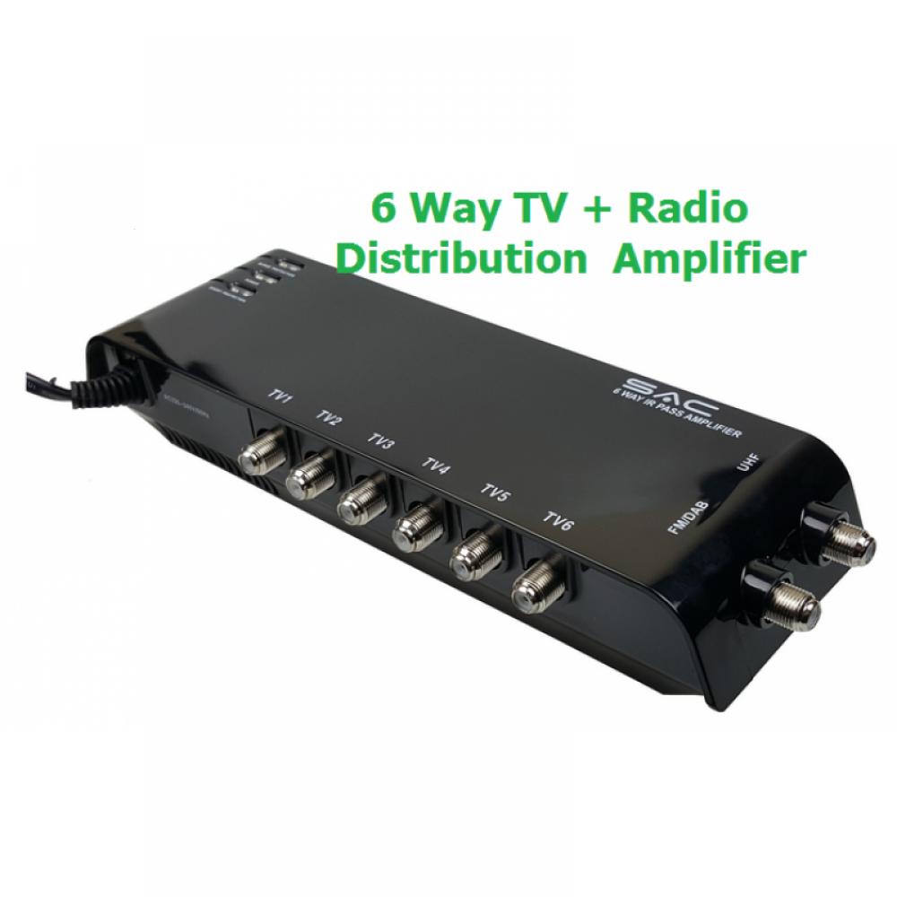 6 Way Indoor TV / Radio Amplifier SSMPS UK,