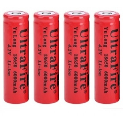 UltraFire Li-ion 4.2V 6000mah 18650 Battery - RED x 4