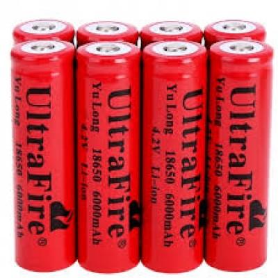 UltraFire Li-ion 4.2V 6000mah 18650 Battery - RED x 8