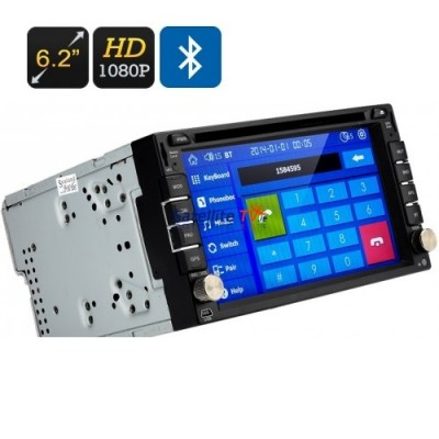 Van DVD Player - 6.2 Inch Screen, 2 DIN, GPS, Region Free, 1080P, 4 X 45 Watt Speakers, Bluetooth, Touch Screen